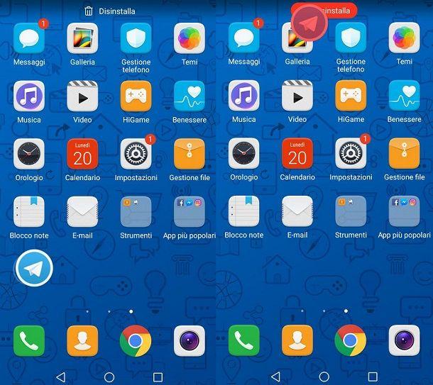 Disinstalla App Huawei