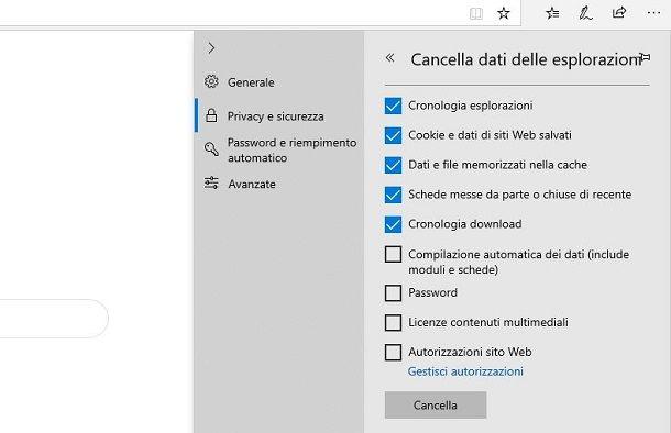 Edge Windows cancellare cronologia