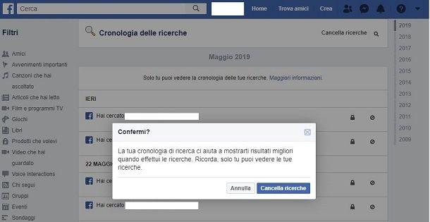Facebook cancellare cronologia