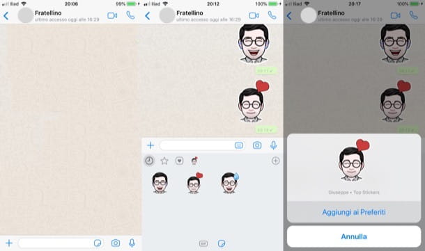 Inviare sticker WhatsApp su iPhone