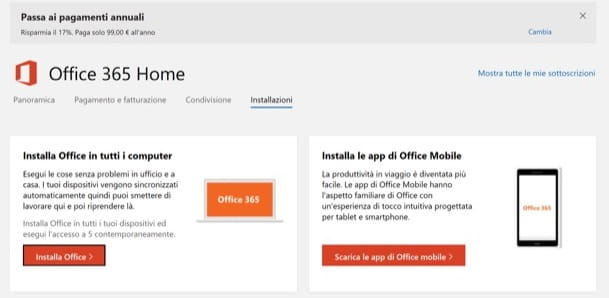 Installa Office 365