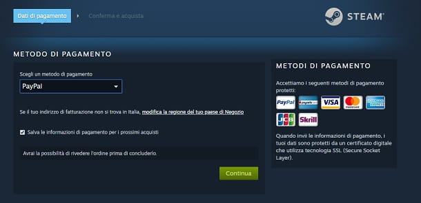 Pagamento Steam