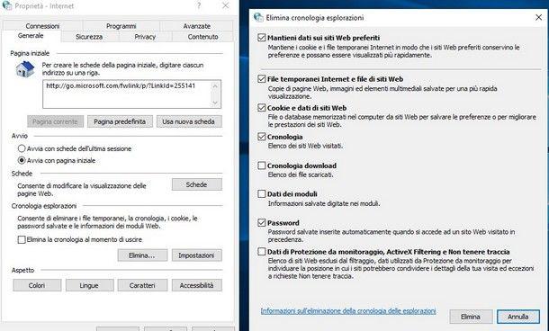 Come cancellare password memorizzate Explorer