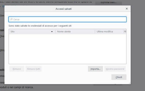 Come cancellare password memorizzate Mozilla Firefox