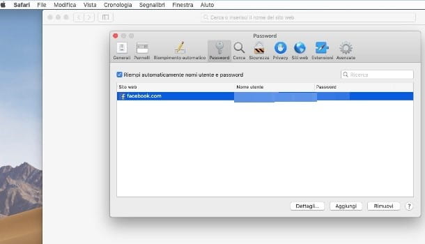 Come cancellare password memorizzate Safari