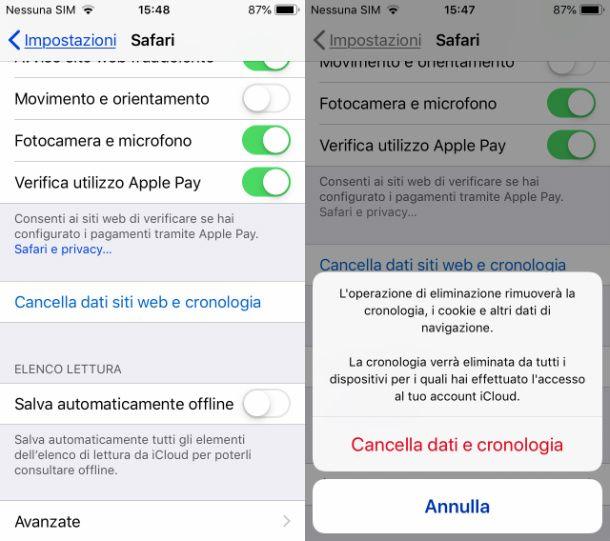 Safari iOS cancellare cronologia