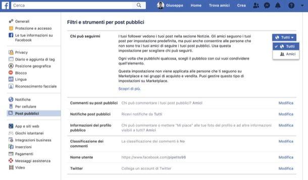 Attivare pulsante Segui su Facebook da computer