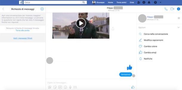 Richieste di messaggi su Facebook desktop