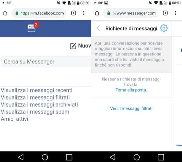 Vedere richieste di messaggi su Messenger per Android