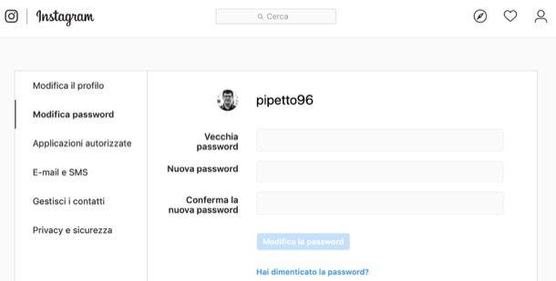 Cambiare password Instagram da computer