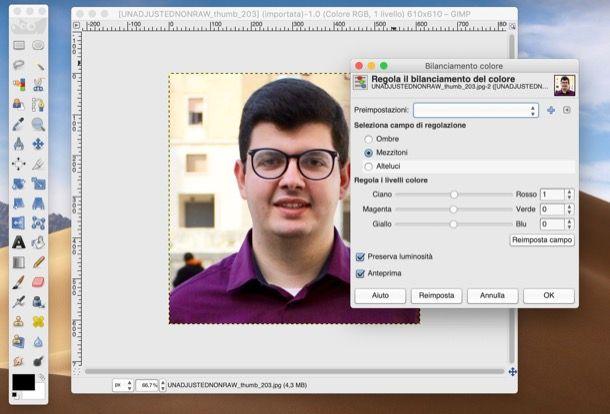 Bilanciamento colori GIMP