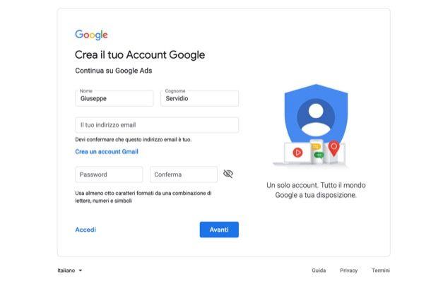 Come registrarsi su Google Ads