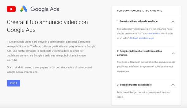 Pubblicare video annuncio su YouTube