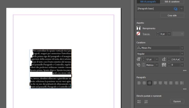 Allineamento InDesign