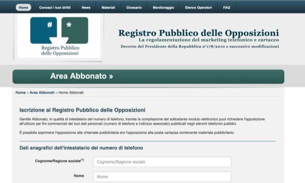 Iscrizione al Registro opposizioni