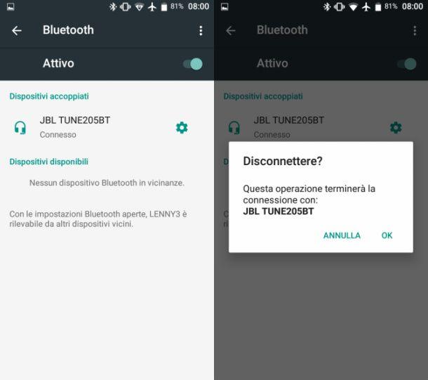 Scollegare dispositivo Bluetooth Android