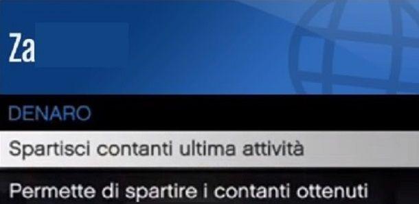 Spartisci contanti ultima attività GTA Online