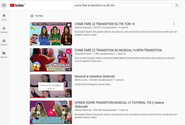 Transizioni TikTok YouTube