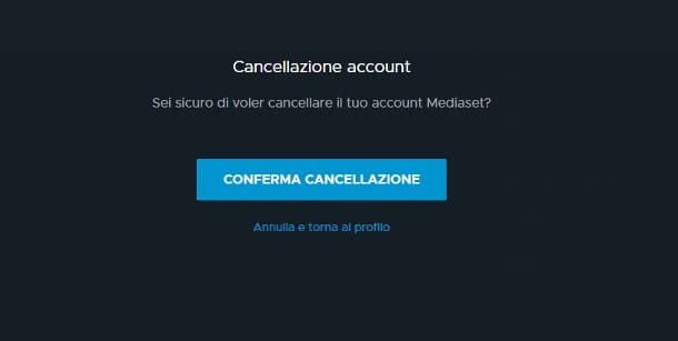 Come eliminare account Mediaset Play