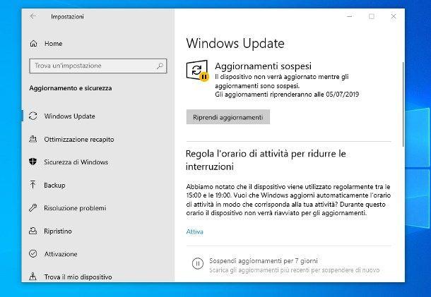 Come sbloccare aggiornamento Windows 10