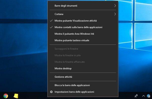 Come sbloccare barra applicazioni Windows 10