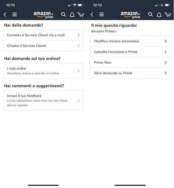 Assistenza Amazon da app