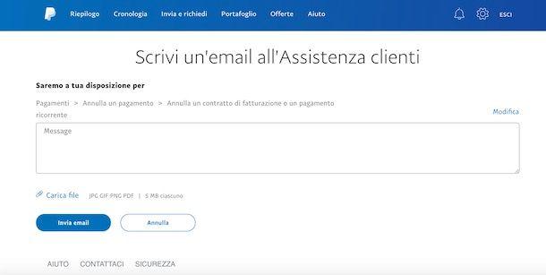 Assistenza clienti PayPal