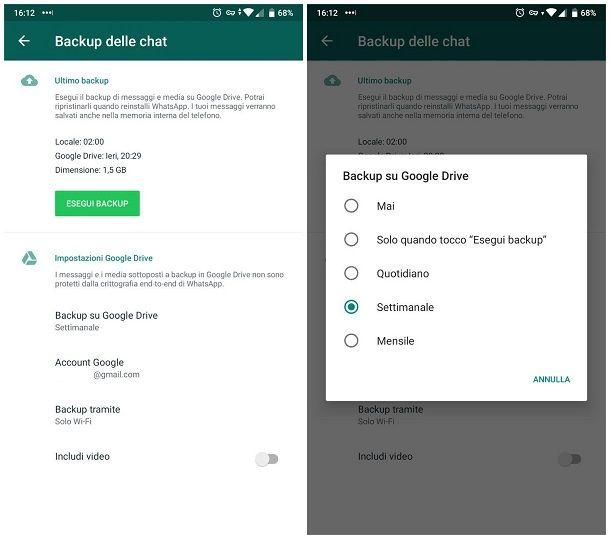 Come fare il backup delle foto di WhatsApp