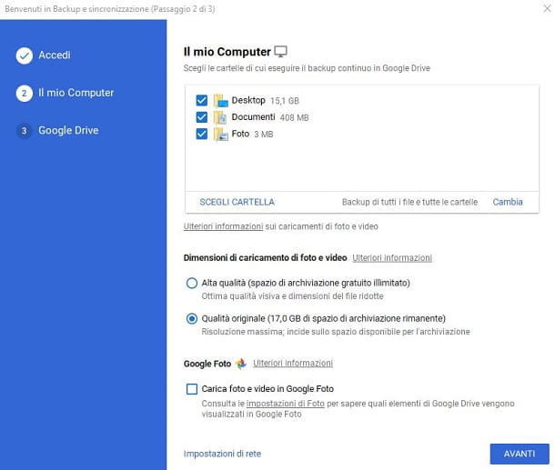Backup e Sincronizzazione di Google