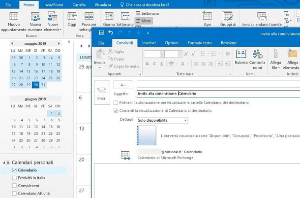 Calendario Microsoft Outlook Windows con Exchange
