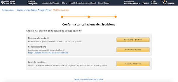 Cancellazione iscrizione Amazon Prime
