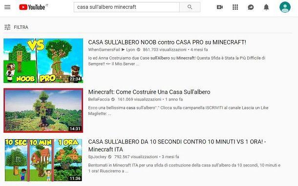 Casa sull'albero Minecraft YouTube