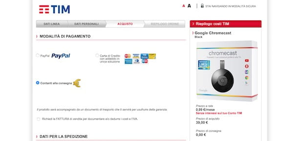 Acquistare Chromecast con TIM