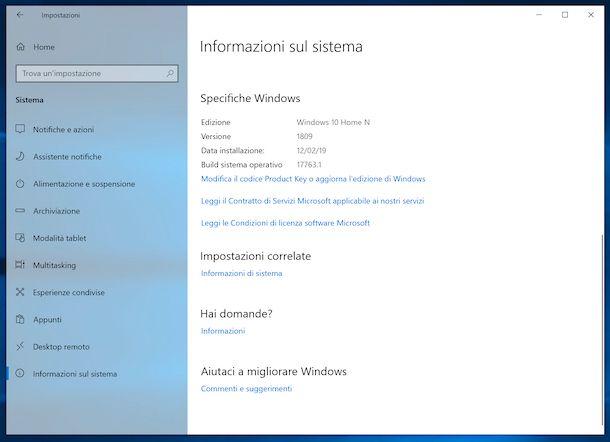 Impostazioni di Windows 10