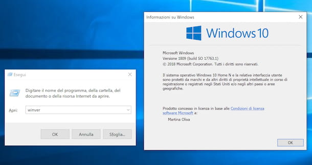 Finestra di Esegui su Windows 10