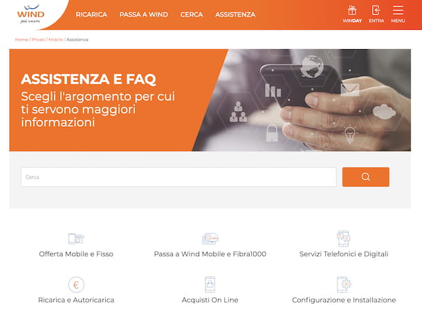 Screenshot della pagina di assistenza e FAQ WInd