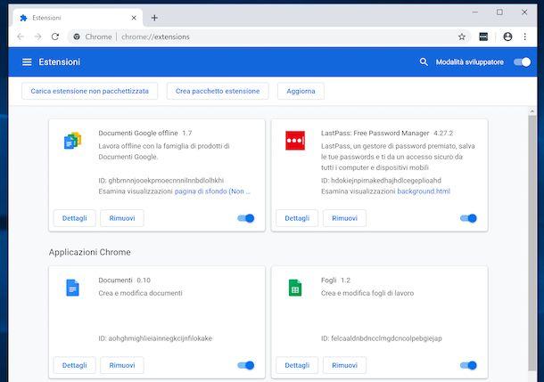 Installare estensioni Chrome attivando la modalità sviluppatore
