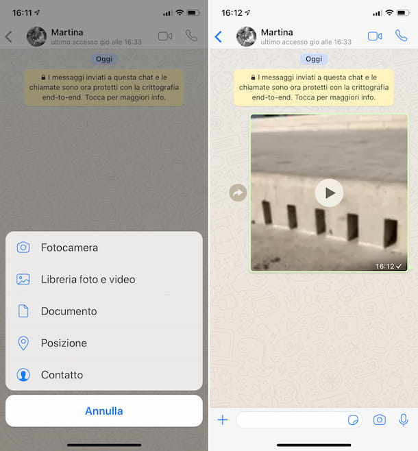 Inviare video su WhatsApp da iPhone