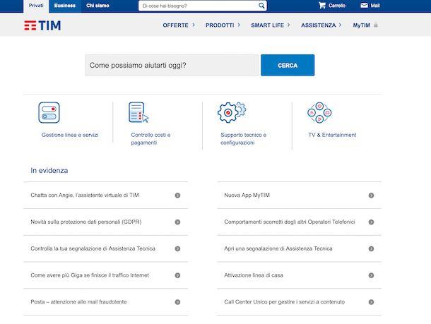 Screenshot della pagina di assistenza del sito TIM