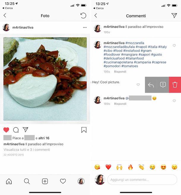 Eliminare commenti su Instagram app iOS