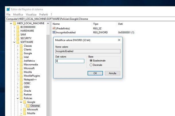 Disattivare navigazione privata Chrome Windows