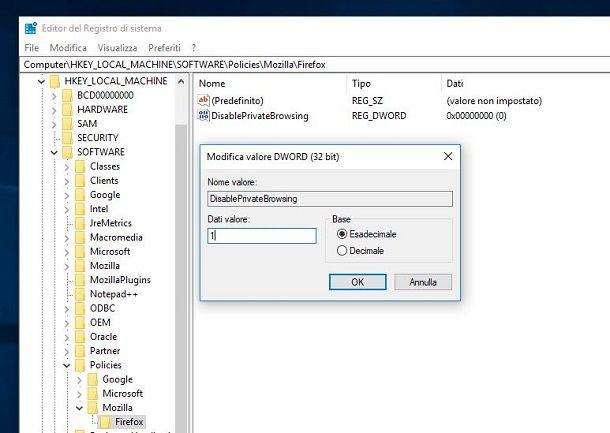 Disattivare navigazione privata Firefox Windows