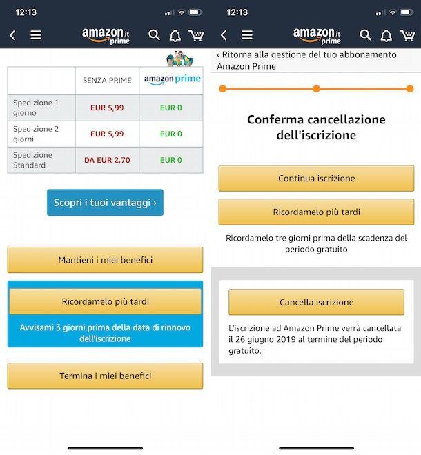 Disattivare Amazon Prime da app