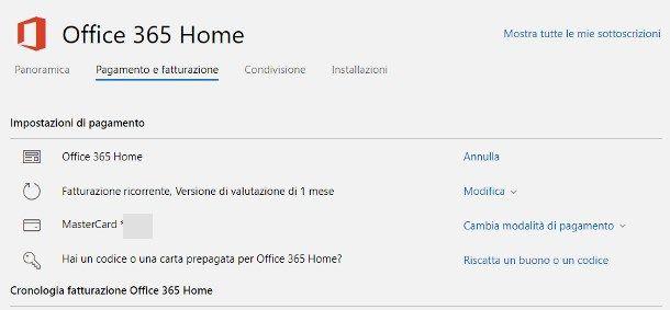 Disattivare il rinnovo automatico di Office 365