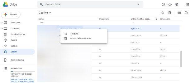 Come recuperare file eliminati da Google Drive