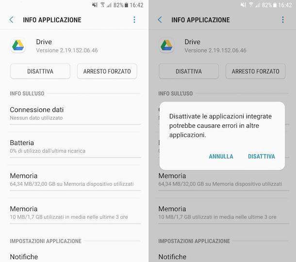Disattivare Google Drive su Android