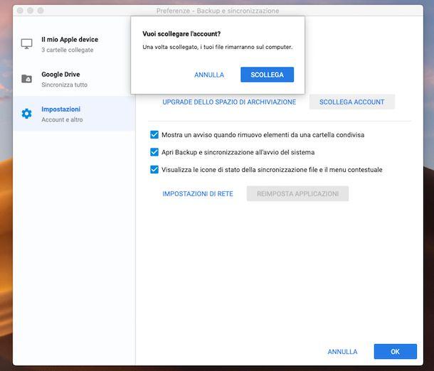 Scollegare Google Drive su macOS