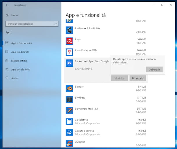 Disinstallare Google Drive su Windows 10