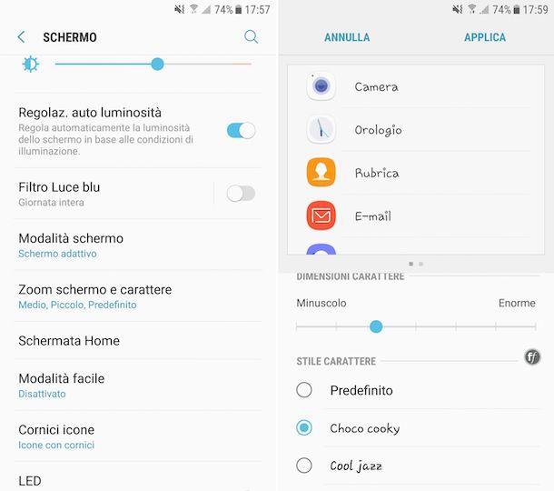 Cambiare caratteri scrittura Android