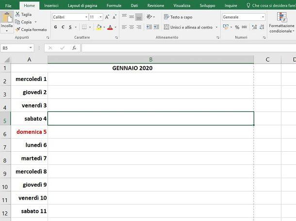 Excel calendario formattato